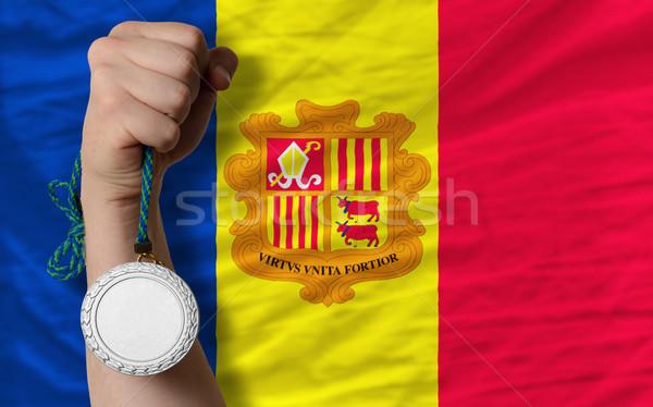 Silber Medaille Sport Flagge Andorra halten Stock foto © vepar5