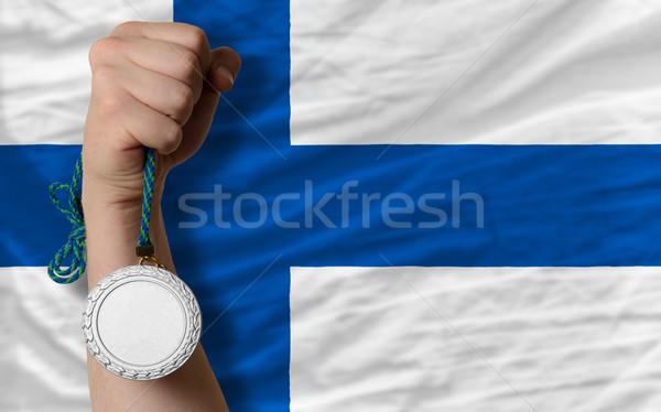 Gümüş madalya spor bayrak Finlandiya Stok fotoğraf © vepar5