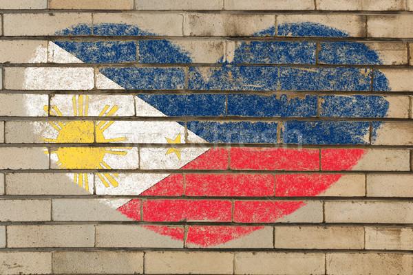 Kształt serca banderą murem serca kolory Zdjęcia stock © vepar5