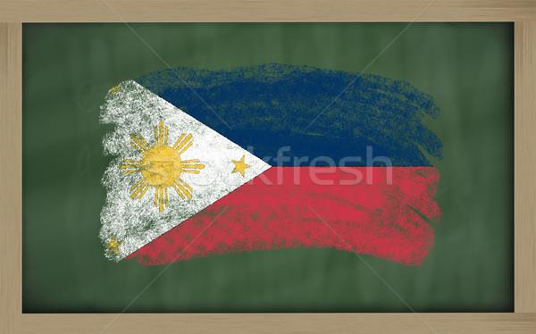 Pavillon Philippines tableau noir peint craie couleur Photo stock © vepar5