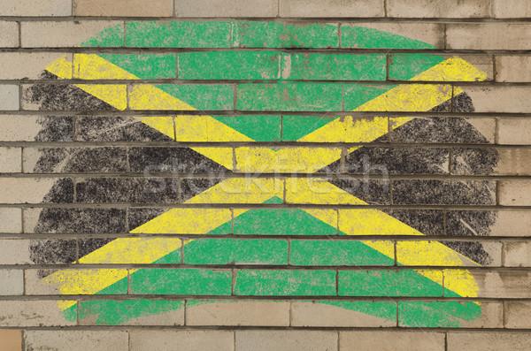 Stockfoto: Vlag · Jamaica · grunge · muur · geschilderd · krijt