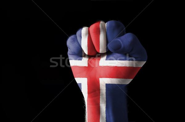 Pięść malowany kolory Islandia banderą niski Zdjęcia stock © vepar5