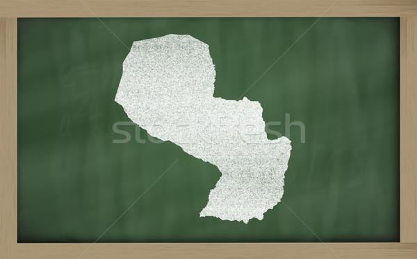 outline map of paraguay on blackboard  Stock photo © vepar5