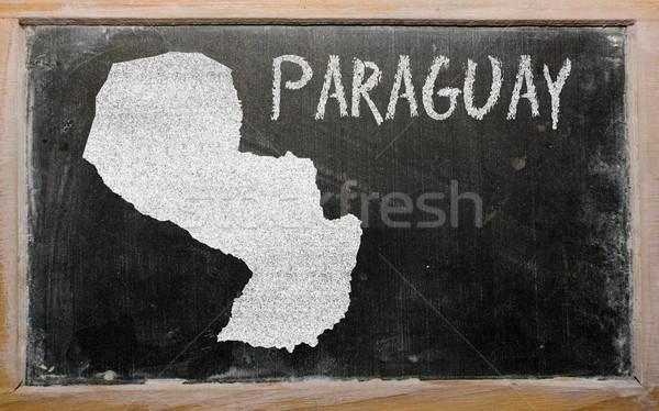 Skicc térkép Paraguay iskolatábla rajz rajzolt Stock fotó © vepar5