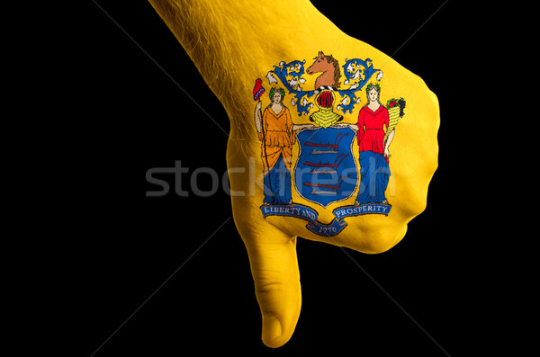 new jersey us state flag thumbs down gesture for failure made wi Stock photo © vepar5