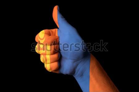 Mongolia bandiera pollice up gesto eccellenza Foto d'archivio © vepar5