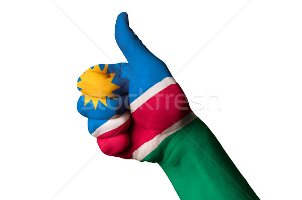 Namibya bayrak başparmak yukarı jest mükemmellik Stok fotoğraf © vepar5