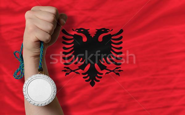 Silver medal for sport and  national flag of albania    Stock photo © vepar5