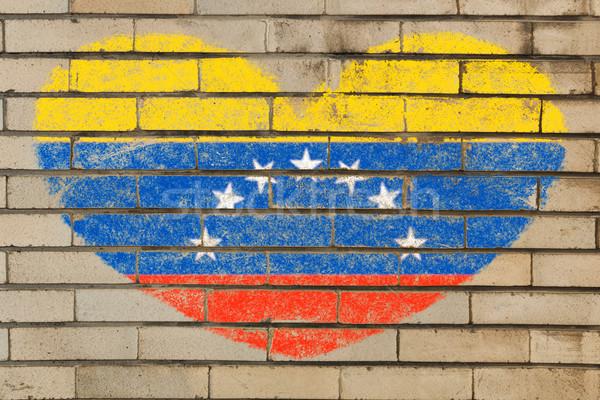Szív alak zászló Venezuela téglafal szív alakú Stock fotó © vepar5