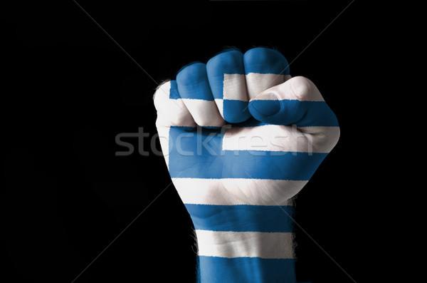 Punho pintado cores Grécia bandeira baixo Foto stock © vepar5