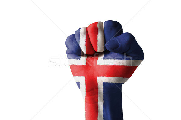 Fist painted in colors of iceland flag Stock photo © vepar5