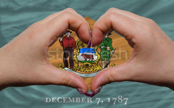 Americano bandeira Delaware coração amor gesto Foto stock © vepar5
