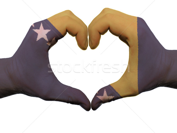 Heart and love gesture in bosnia herzegovina flag colors by hand Stock photo © vepar5