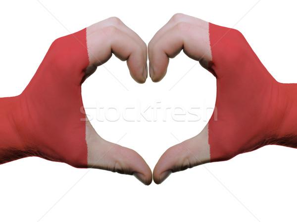 Szív szeretet kézmozdulat Peru zászló színek Stock fotó © vepar5