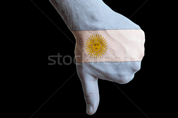 argentina national flag thumb down gesture for failure made with Stock photo © vepar5