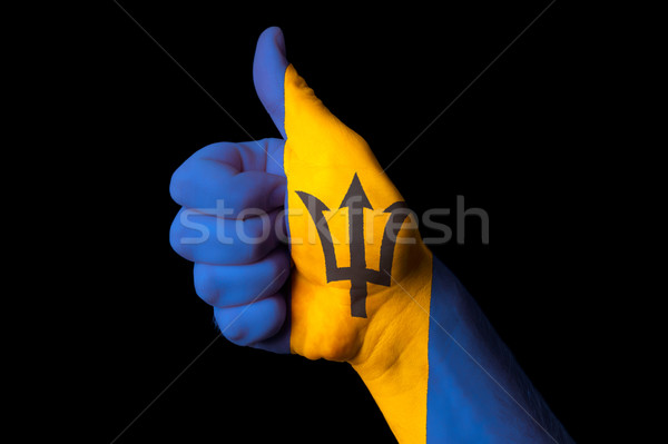 barbados national flag thumb up gesture for excellence and achie Stock photo © vepar5