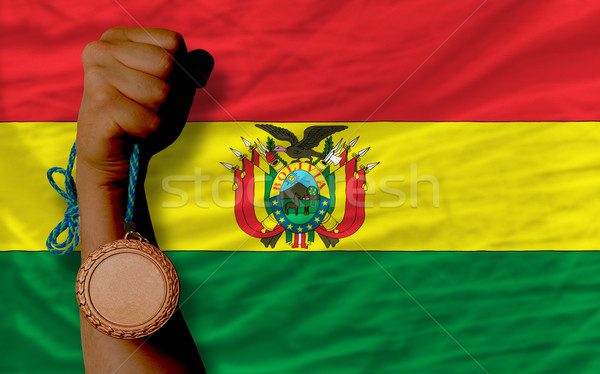 Bronzen medaille sport vlag Bolivia Stockfoto © vepar5