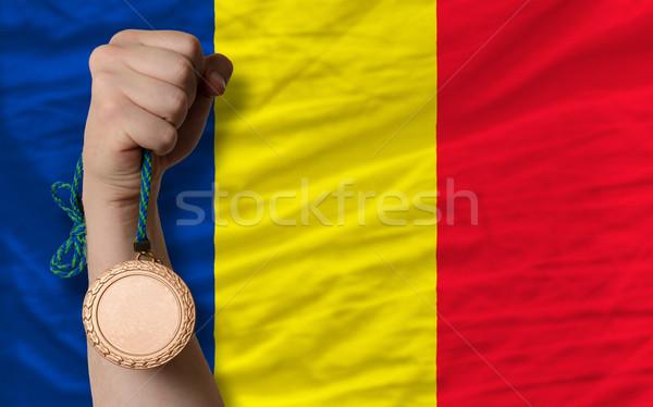 Bronz érem sport zászló Romania tart Stock fotó © vepar5