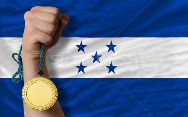 Medalha de ouro esportes bandeira Honduras vencedor Foto stock © vepar5