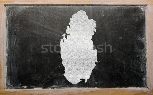 Harita Katar tahta çizim Stok fotoğraf © vepar5