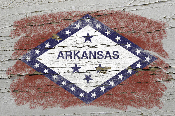 flag of US state of arkansas on grunge wooden texture precise pa Stock photo © vepar5
