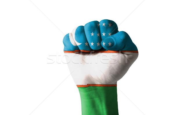 Fist painted in colors of uzbekistan flag Stock photo © vepar5