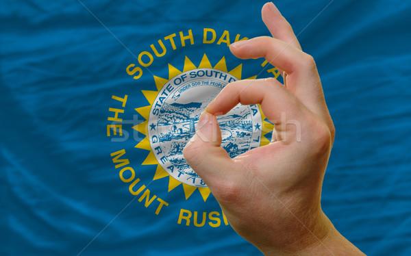 Ok kézmozdulat Dél-Dakota zászló férfi mutat Stock fotó © vepar5