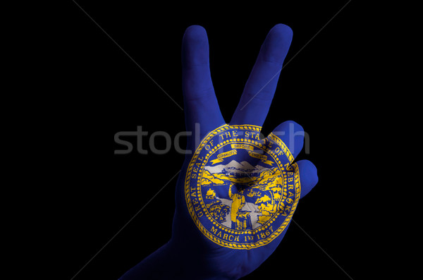 Nebraska zászló kettő ujj felfelé kézmozdulat Stock fotó © vepar5