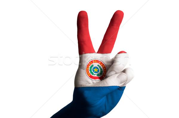 Paraguay zászló kettő ujj felfelé kézmozdulat Stock fotó © vepar5