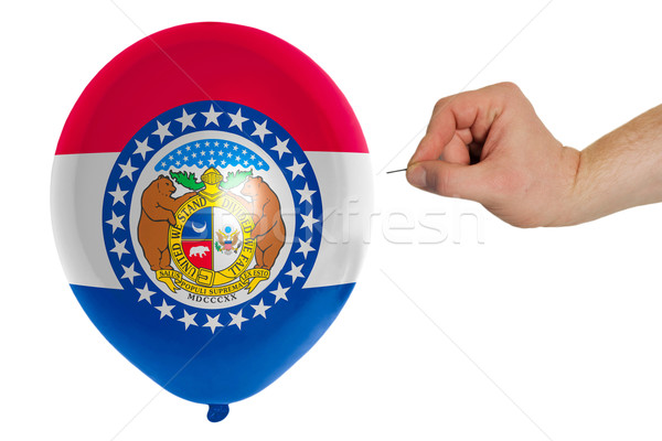 Bursting balloon colored in  flag of american state of missouri  Stock photo © vepar5