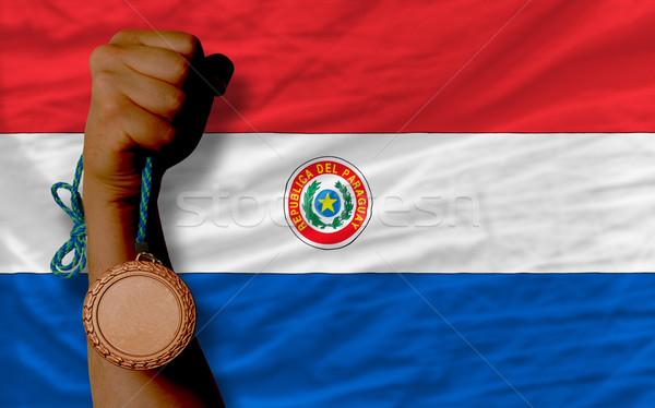 Brąz medal sportu banderą Paragwaj Zdjęcia stock © vepar5