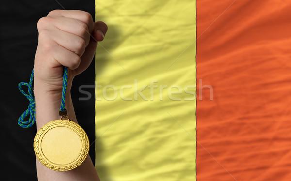 Aranyérem sport zászló Belgium nyertes tart Stock fotó © vepar5