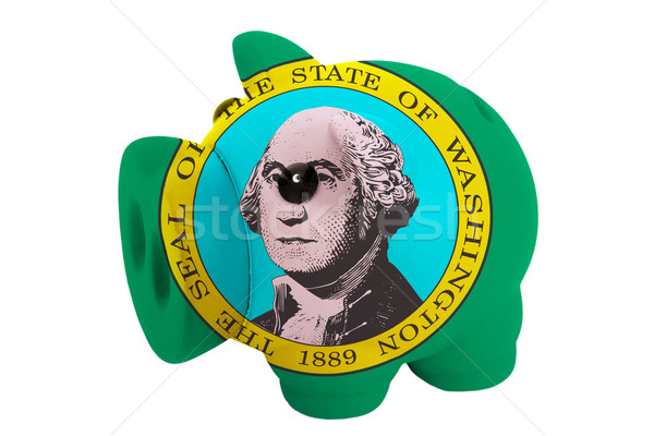 piggy rich bank in colors  flag of american state of washington  Stock photo © vepar5