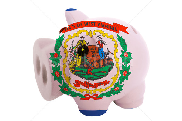 piggy rich bank in colors  flag of american state of west virgin Stock photo © vepar5