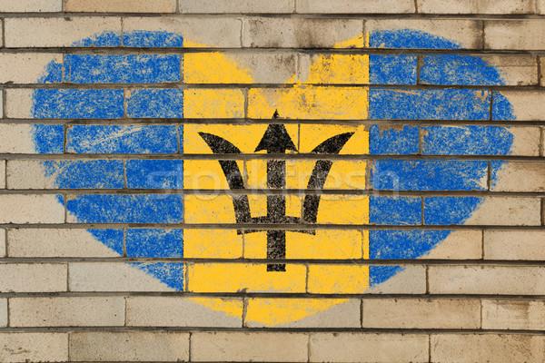 Stockfoto: Hartvorm · vlag · Barbados · muur · hart