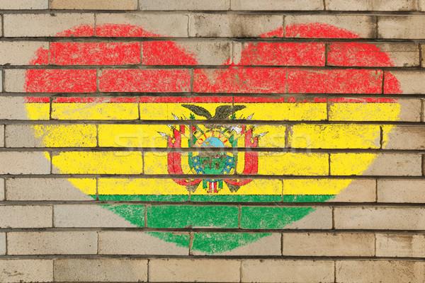 Szív alak zászló Bolívia téglafal szív alakú Stock fotó © vepar5