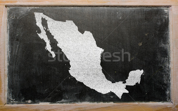 Stock photo: outline map of mexico on blackboard