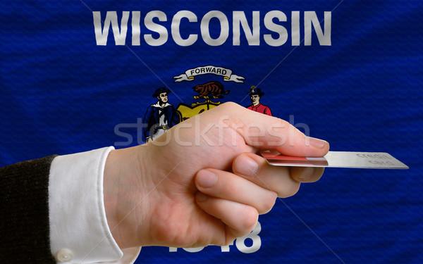 Achat carte de crédit Wisconsin homme sur Photo stock © vepar5