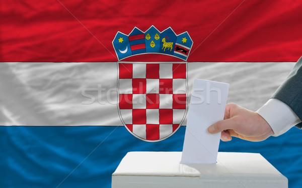 Adam seçimler Hırvatistan oylama kutu Stok fotoğraf © vepar5