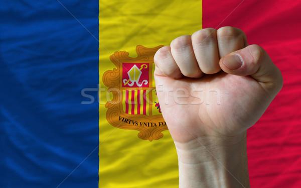 Stockfoto: Vuist · Andorra · vlag · macht · compleet · geheel