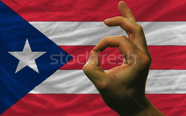 Gebaar Puerto Rico vlag man tonen Stockfoto © vepar5