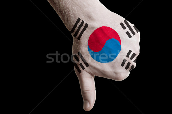 south korea national flag thumbs down gesture for failure made w Stock photo © vepar5