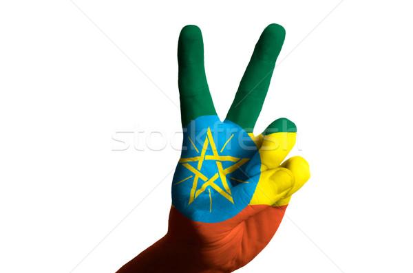 Etiopia banderą dwa palec w górę gest Zdjęcia stock © vepar5
