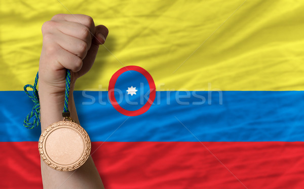 Bronze medal for sport and  national flag of columbia    Stock photo © vepar5