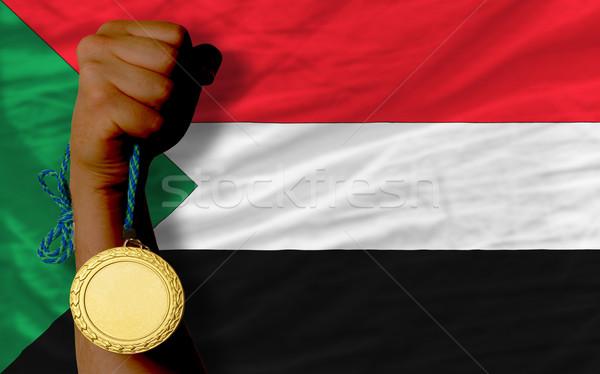 Aranyérem sport zászló Szudán nyertes tart Stock fotó © vepar5