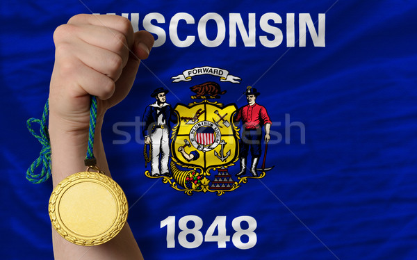 Stock photo: Gold medal for sport and  flag of american state of wisconsin