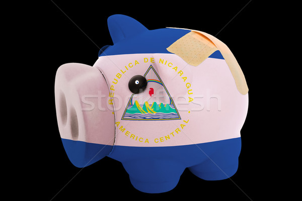 bankrupt piggy rich bank in colors of national flag of nicaragua Stock photo © vepar5