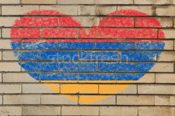 формы сердца флаг Армения кирпичная стена сердце Сток-фото © vepar5