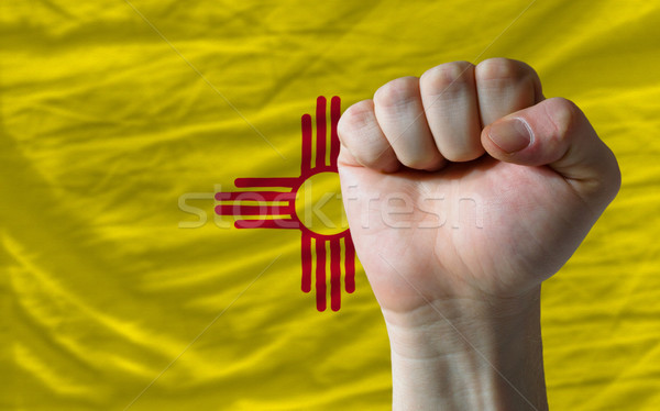 us state flag of new mexico with hard fist in front of it symbol Stock photo © vepar5