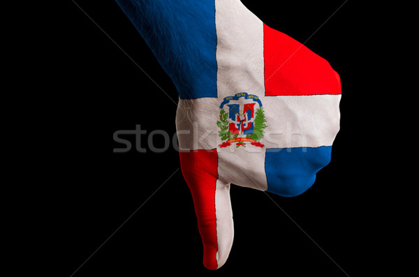 dominican national flag thumbs down gesture for failure made wit Stock photo © vepar5